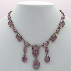Vtg 1930s Art Deco Czech Amethyst Glass Dangle Bib Necklace