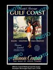 OLD LARGE HISTORIC PHOTO OF 1930s ILLINOIS CENTRAL RAILROAD POSTER, GULF COAST 1