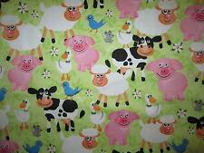 PIGS SHEEP COW FARM ANIMALS COTTON FLANNEL FABRIC BTHY