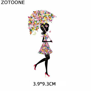 Fashion Girl Cute Patches Stickers Iron on Clothes Heat Transfer Applique Jacket