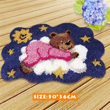 UK Bear Embroidery Carpet Latch Hook Rug Kit 3D Cushion Mat Needlework Decor DIY