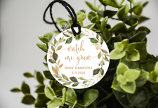 10 White Gift Tags baby shower Favour Personalised Watch Me Grow Bomboniere