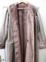 DANNIMAC Vintage Beige Coat 1960s Faux Fur Lined Warm Long Mac MADE IN BRITAIN