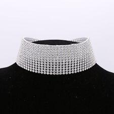New Diamond Wide Silver Chain Jewelry Necklace Choker Collar Dress Accessory UK