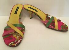 Claudia Ciuti Womens Slide Sandal Size 8.5M Yellow Leather Paisley Kitten Heel