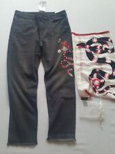 HALLHUBER Jeans Slim Boy Snake Gris Oscuro Denim con Bufanda de Seda Gr.40 Nuevo
