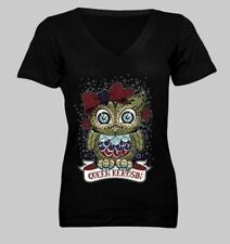Timeless Clothing USA Queen Kerosin Sugar Skull Owl design Black V-neck Tee - M