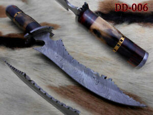"""12.5"""" long trailing point Twist pattern Damascus steel hunting knife with Sheath"""