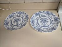 Arcopal France Dinner/Decorative Plates Blue on White French Country Set of 2