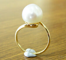 12.5mm SOUTH SEA WHITE PEARL 100% UNTREATED+18ct Y GOLD RING+APPRAISAL AVAILABLE