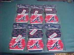 Atlanta Braves MLB Foco YOUTH Face Cover Masks 2 Pack Bulk Lot of 6 Liquidation