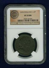 G.B./ENGLAND WILLIAM & MARY 1694 HALF-PENNY COIN, CERTIFIED BY NGC VF-35-BN