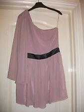 LIPSY SHEER PALE PINK ONE SHOULDER FLOATY SLEEVE PARTY DRESS -BLACK WAISTBAND 12