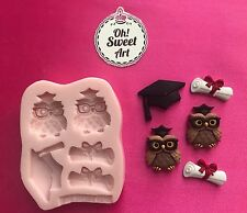 GRADUATION OWLS Silicone Mold Food Cake Decoration toppers soap cupcakes FDA