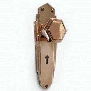 Pr of 1930`s Art Deco Reproduction Copper Hexagonal Door Knobs & Backplates COP2