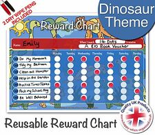 Reusable Dinosaur Theme Childrens Child Reward Behaviour Chart - 2 Dry Wipe Pens