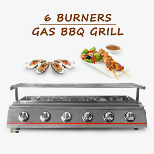 LPG Gas 6 Burners Stainless Steel BBQ Grill Outdoor Barbecue Grill Size: 79*25CM