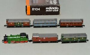 Z Scale Marklin 8104 KPEV Royal Prussian 2-6-0 Steam Loco & Passenger Cars Set
