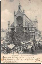 CPA Belgique  - BRUXELLES - Place Sainte Catherine ( jour de marché )