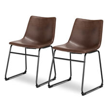 Set of 2 PU Leather Vintage Dining Chairs Side Chair with Metal Legs Brown New