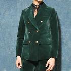 Men Green Velvet Groom Wedding Formal Suits Double-breasted Peak Lapel Tuxedos