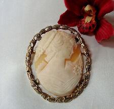Exzellente große Gemme Brosche 925 Silber vergoldet 5,7 cm x 4,7 cm / ay 783