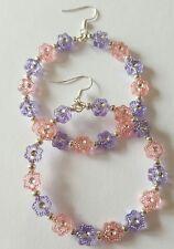 New Handmade 50MM Pink Purple Star Acrylic Beaded Dangle Drop Hoop Earrings