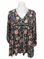 Knox Rose Women's Size M Top Key Hole Back Long Sleeve Blouse Floral V Neck