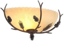 Lodge Light Weathered Spruce Sconce Textured Sunset Glass Shade Outdoor