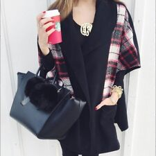 TOPSHOP BLACK MIXED CHECK CAPE JACKET COAT PONCHO ONE SIZE