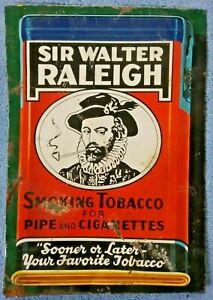 vtg SIR WALTER RALEIGH tobacco tin sign - smoking pipe - 14X10 advertising/promo