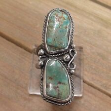 Large Vintage Sterling Silver Turquoise Ring Size 8