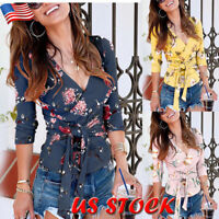 Womens Floral V Neck Long Sleeve Tops Ladies Wrapped Lace Up Blouse Slim T-Shirt
