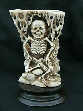 More details for gothic memento mori macabre buffalo bone okimono statue of a skeleton death