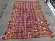 Vintage Tribal Nomadic Hand Made Oriental Red Orange Wool MOJJ Kilim 210x141cm