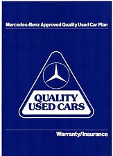 Mercedes-Benz Approved Used Car Plan Warranty Early 1990s UK Market Brochure