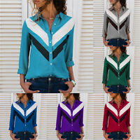 Plus Size Casual Basic Tops Women's Summer Color Block Long Sleeve T-Shirt Tee