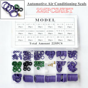 225Pcs/Set Conditioning Sealing Rubber Ring Kit Car Air Refrigerant Trim Repair