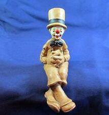 Vintage 1978 Andreoli Sitting Brown Clown, Very Nice Condition