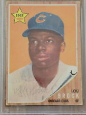 Lou Brock Signed 1962 Topps Rookie Card #387 PSA DNA Cubs Cardinals HOF