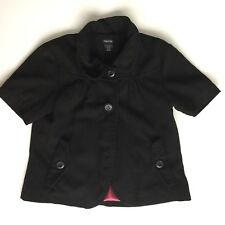 Maurices Sz Large Black Short Sleeved Jacket Pink Lined Blazer Coat Top
