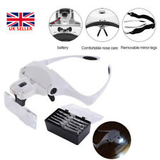 Head Magnifier 2 LEDs Lights Headband Magnifying Glasses Hand Free LED Lamp UK