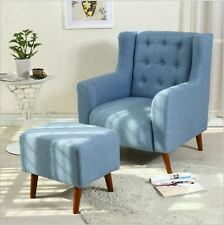 Brand New Single Seater Sofa Fabric High Back Arm Chair Lounge Blue Grey stool