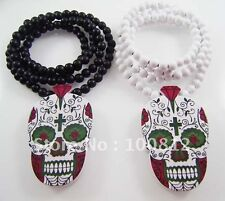 Valentines Day Of The Dead Wooden Skull Pendant Necklace Voodoo Queen Wood