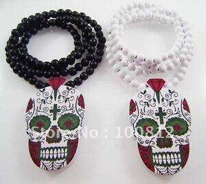 Halloween Day Of The Dead Wooden Skull Pendant Necklace Voodoo Queen Wood