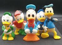 Walt Disney Productions Vintage Lot Of 5 Duck Toys Huey Louie Dewey Donald Duck