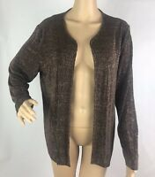 Chico's Travelers Cardigan Jacket Size 3 Brown Reptile Snake Print Open Front