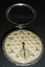 1930's EX++ WORKS GERMAN MOON CROWN 800 SILVER SWISS MOV POCKET WATCH 3 DIAMOND