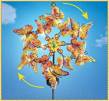 Autumn Butterflies Double SOLAR Lighted Garden Wind Spinner Stake Yard Art Decor