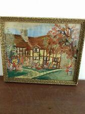 Vintage Silk Bordado imagen Cottage Garden HOLLYHOCKS Flores Enmarcado